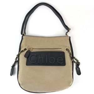 {Chloe} Haley Tan Canvas Leather Shoulder Bag
